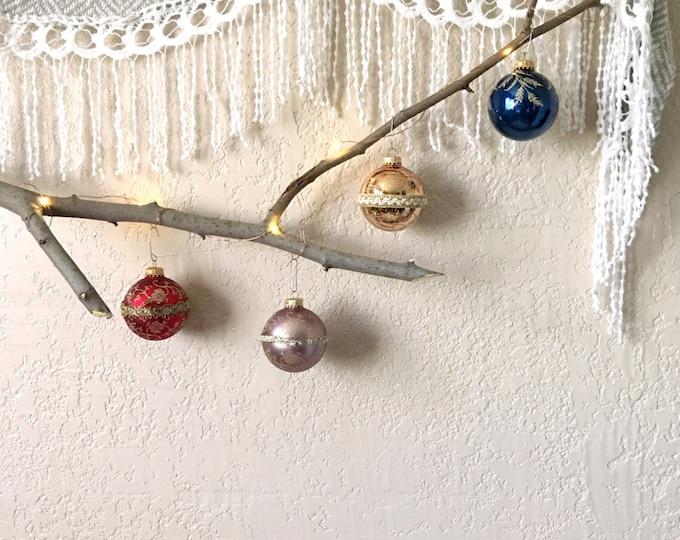 Vintage Krebs Colorful Christmas Glass Ball Ornaments - Set of 4