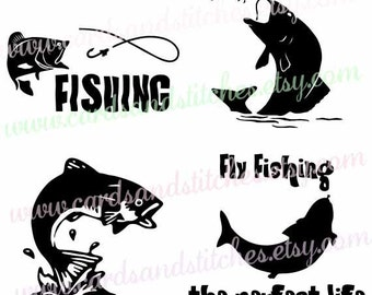 Fly Fishing SVG - Fishing SVG - Trout SVG -  Digital Cutting File - Cricut Cut - Graphic Design - Instant Download - Svg, Dxf, Jpg, Eps, Png