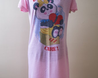NOS Oversize T-Shirt Night Gown Handle With Care Panda