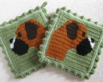 Boxer Dog Pot Holders. Tea leaf green crochet potholders with fancy boxers