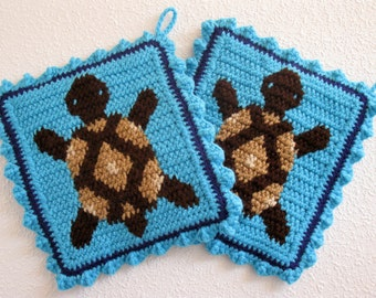 Turtle Pot Holders. Turquoise crochet potholders with brown turtles. Desert turtle hot pad.  Box turtle decor. Turtle trivet.