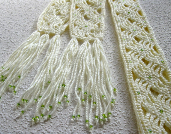 Long crochet scarf.  Soft white, lightweight scarf with light green beads for women. Crocheted skinny scarves