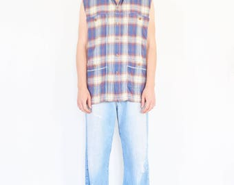 90s Cut Off Sleeve Plaid Utility Shirt