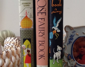 Set of Three Fairy Books by Andrew Lang - Rose, Orange, and Olive - Collectible mid-century reprints with pictorial bindings
