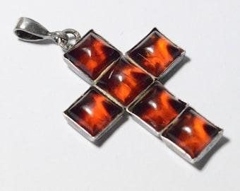 SALE Vintage Sterling Silver Amber Squares Modern Cross Pendant