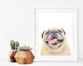 Pugs and Kisses | Pug Art | Happy Pug | Pug Dog Gift | Pug Wall Art | Pug Dog Art | Cute | Adorable | Happy
