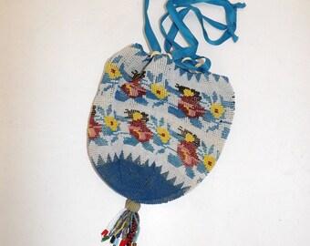 Antique Victorian heavily beaded beadwork pure drawstring handbag bag floral flower detail with tassel