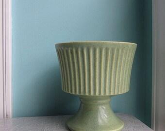 Green McCoy Floraline Planter, Green McCoy Floraline Vase, Green Jardiniere, Mid Century Pedestal Planter, Green Ribbed Footed Vase Planter