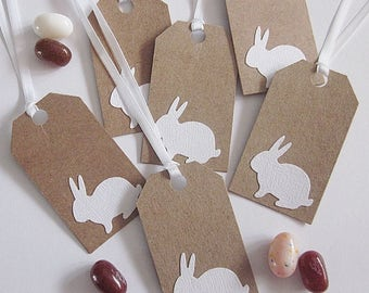 Easter Gift Tags - Brown Craft with White Bunny - Set of 6