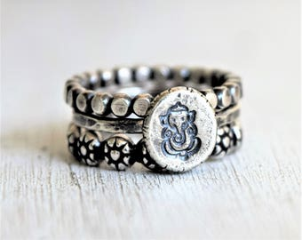 Sterling Silver Boho Ring Stack - Ganesh and Daisies RIng Stack - Flattened Ball Bead Ring - Metalwork - Gift For Her