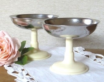 Ice Cream Bowl Vintage Dessert Bowl Cup Soviet Vintage Footed Bowl Sherbet Bowl Set of 2