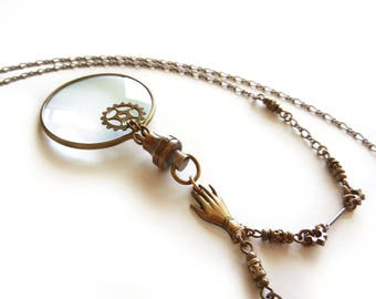Steampunk Magnifying Glass Necklace, Magnifier Pendant, Glass Lens Necklace, Long Necklace, Gear Necklace, Mother's Day Gift