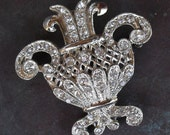 Reserved for Junko - 1 Flowerpot Rhinestone Brooch and 8 Scatter Pins