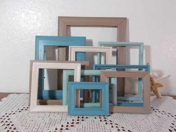 Beach Frame Set Aqua Blue Seafoam Green Taupe Sand Wall Gallery Collection Picture Photo Shabby Chic Rustic Distressed Home Decor Gift