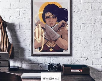 DIANA of THEMYSCIRA - Wonder Woman - Diana Prince - DC - Justice League - Comic Book Art - Super Hero Art - Original Art Poster