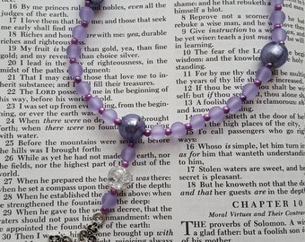 Christian Prayer Beads // Anglican Prayer Beads // Handmade // Frosted Purple and Light Purple