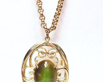 Cat's Eye Glass Necklace Pendant and 20 inch Chain, Vintage, Whiting Davis, Yellow Gold Tone