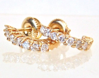 14K Diamond Stud Screw Back Earrings, .42 Carats, Vintage, Half Hoop, Yellow Gold