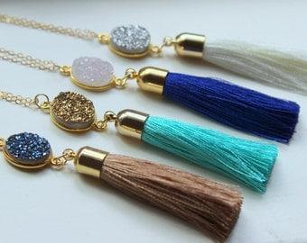 Gold Druzy Necklace, Tassel Necklace, Tassel Jewelry, Gold Druzy Jewelry, Statement Necklace, Fringe Necklace, Fringe Jewelry Gift for Her