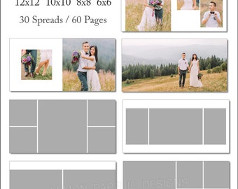 SALE 6x6 WHCC Album Template 60 Page - Includes 12x12, 10x10, 8x8, 6x6 - INSTANT Download - ALB31
