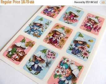 SALE Violet Flower and Fairies Rare Vintage Sangamon Scratch and Sniff Sticker Sheet - 80's Fairy Tale Scented Faerie Wings Scrapbook