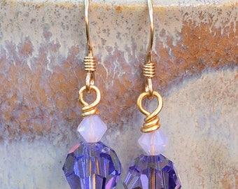 Swarovski Tanzanite & Violet Opal Crystal Earrings