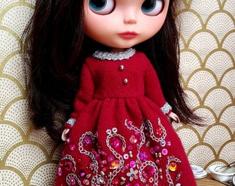 "Dark Red Angora Embroidered Dress for 12"" Blythe, Pullip"