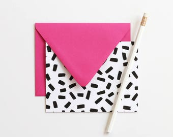 Thank You Note Set Blank Stationery Colorful Note Cards Black and White Confetti Cute Pink Stationary Bridesmaid Gifts Blank Greeting Cards