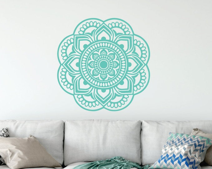 Mandala Wall Decal // Family Wall Decal // Mandala Wall Art // Mandala Wall Decor // Mandala Sticker // Yoga Wall Decal // Bohemian Art