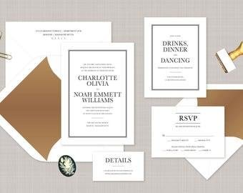 Traditional Wedding Invitation. Foil Wedding Stationery. Formal Invitation. Bronze Wedding Invitation. Classic Border Wedding Invite.