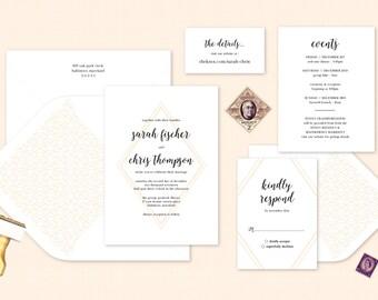 Geometric Wedding Invitation. Letterpress Wedding Stationery. Peach Invitation. Modern Wedding Invite. Pink Wedding Calligraphy Invitation
