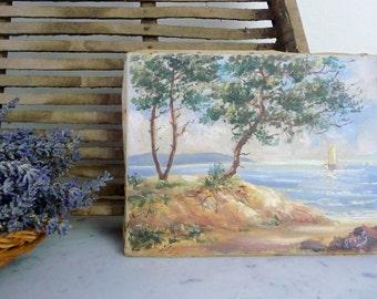 Vintage French Painting Impressionist Seaside Nautical Signed France Unframed on Canvas Coastal Decor