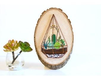 Succulent art on wood, succulent string art, succulent painting on wood, succulent terrarium, wood slice painting, succulent wall art