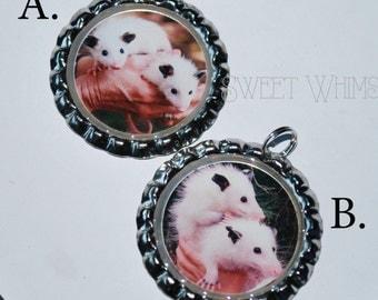 Leucistic opossum bottlecap pendant - opossum pendant - possum jewelry - leucistic jewelry - white opossum