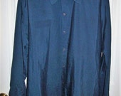 Vintage Men's Navy Blue Snap Front Work Shirt by Red Kap Large Only 7 USD