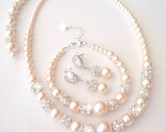 Blush pearl jewelry set - Swarovski pearls and crystals ~ 3 piece set ~ Pearl Bracelet,Earrings,Necklace, Bridal jewelry set, Backdrop