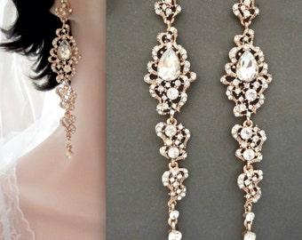 "Gold chandelier earrings - 4"" Long - Crystal rhinestone statement earrings - Brides earrings - Pageant - Prom - Wedding earrings, BRI"