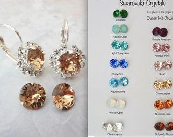 Champagne crystal earrings ~ Swarovski crystal earrings, Halo, crystal earrings,Brides earrings,Wedding earrings,Bridesmaids earrings,SOPHIA