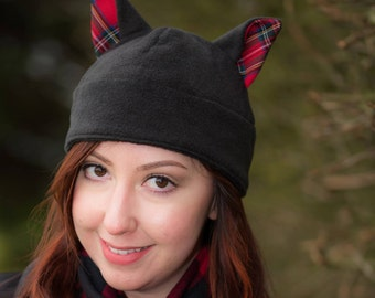 Black Red Tartan Cat Ear Fleece Winter Hat, Animal Cosplay, Unique Christmas Gift, Novelty Costume Hat, Anime, Punk