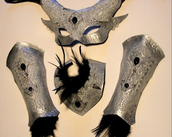 Silver Satyr..womens mask ,collar and armguards set.