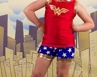 Girl Wonder Woman Shorts Tank Top, Toddler Shiny Gold Wonder Woman Outfit, Vacation Shorts Tank, Wonder Woman Sizes 18m 2t 3t 4t 5 6