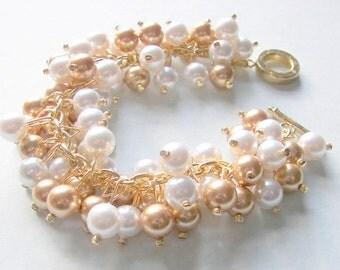 Swarovski Gold and White Pearl Cluster Bracelet, Bridal Bracelet, Bridesmaid Bracelet, Wedding Jewelry, Chunky Gold and White Pearl Bracelet