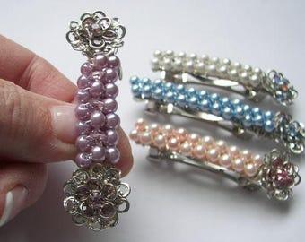 Wedding Hair Accessory,  Swarovski Crystal Flower and Pearl Hair Barrette,  Summer Barrette, Flower Girl Barrette, Bridal Party Barrette
