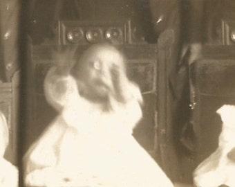 "Vintage Photo ""Happy Baby"" Older Brother Blurry Motion Baby Dress Newsboy Cap Found Vernacular Snapshot Antique Paper Ephemera"