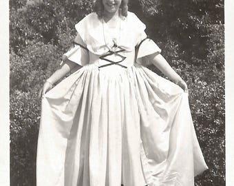 "Vintage Snapshot ""Little Bo Peep"" 1932 Costume Halloween School Play Blonde Wig Long Dress Found Vernacular Photo"