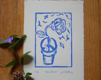 Original Linoleum Print, Flower Print, Linocut Print, Peace Sign Print, Peace Blooms, Hippie Art, Peace Art, Wall Decor
