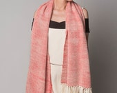 Long Scarf Woven Coral Natural Dyed Multicolor, Organic Handwoven Shawl Merino Wool, Scarves for women by Texturable