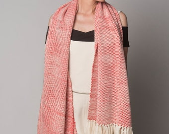 Blanket Scarf Woven Coral Natural, Organic Shawl Merino Wool, Wrap throw, Spring summer trends by Texturable