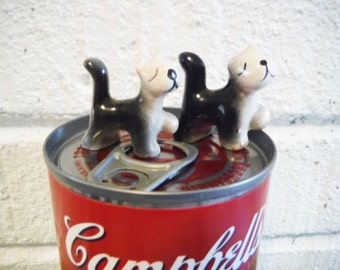 Strutting kitteh miniatures doll house cats kittens ceramic 1940's mid century vintage black and white cat proud