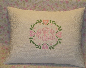 Monogrammed floral pillow, Monogrammed Pillow, Throw pillow, Monogrammed throw pillow, Baby throw pillow, baby monogrammed pillow, baby gift